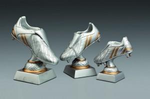 Pokale 3er Serie Trophäe Fußball Fußballschuh 14 cm - 20 cm